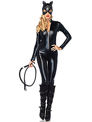 Adult Cat Cospaly Halloween Costumes Adult Women Leather Rider Motorcycle Jacket Lady Catwoman Costume Catsuit Jumpsuit