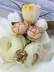 Fleurs de mariage Roses Pivoines Boutonnières Mariage La Fête / soirée Satin Strass