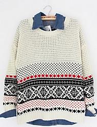 Damen Standard Pullover-Ausgehen Lässig/Alltäglich Einfach Niedlich Einfarbig Blau Beige Rundhalsausschnitt Langarm Kunst-Pelz Herbst