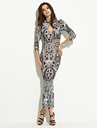 Women's Vintage / Street chic Slim Over Hip Hollow Out Print Bodycon Dress,Crew Neck Maxi