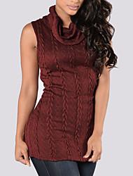 Damen Standard Weste-Lässig/Alltäglich Einfach Solide Rot / Beige Rollkragen Ärmellos Wolle Winter Dick Mikro-elastisch
