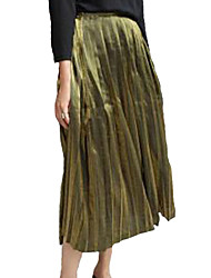 Women's Swing Solid Pleated Skirts,Casual/Daily Simple Mid Rise Midi Elasticity Cotton Micro-elastic Spring