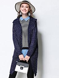Damen Lang Strickjacke-Lässig/Alltäglich Einfach Solide Blau Mit Kapuze Langarm Acryl Herbst Winter Mittel Mikro-elastisch