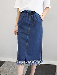 Women's A Line Solid Skirts,Going out / Casual/Daily Mid Rise Midi Elasticity Cotton Micro-elastic Summer / Fall