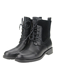 Women's Boots Fall / Winter Others Leather / Cashmere Outdoor / Office & Career / Casual Low Heel Lace-up Black