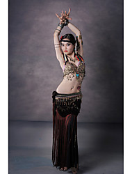 Belly Dance Outfits Women's Performance Polyester Gold Coins / Copper Coins / Paillettes / Sash/Ribbon / Tassel(s) 3 Pieces Sleeveless