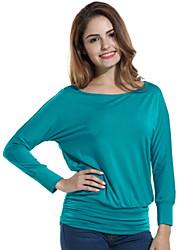 Damen Solide Einfach / Street Schick Lässig/Alltäglich T-shirt,Rundhalsausschnitt Frühling / Herbst Langarm Blau / Beige / Schwarz