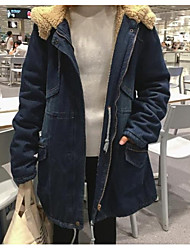 Sign 2016 winter new Korean long section plus thick velvet hooded lambs wool denim jacket coat
