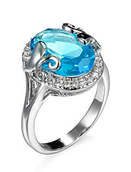 Ring AAA Cubic Zirconia Zircon Cubic Zirconia Alloy Green Light Blue Jewelry Daily 1pc