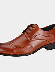 Men's Oxfords Spring Fall Comfort Cowhide Casual Low Heel Lace-up Others Black Brown