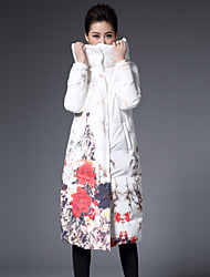 1898 Women's Down CoatSophisticated Plus Size / Casual/Daily Floral-Polyester White Duck Down Long Sleeve Hooded White