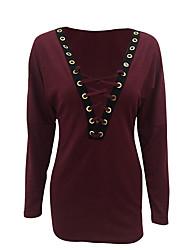 Damen Solide / Druck Einfach Lässig/Alltäglich T-shirt,Tiefes V Herbst / Winter Langarm Rot / Grau Polyester Undurchsichtig