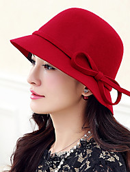 Women Vintage Casual Woolen Solid color bow Dome Jazz Big Brimmed Hat