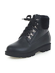 Women's Boots Fall Winter Comfort Leatherette Casual Low Heel Lace-up Black Yellow Gray Beige