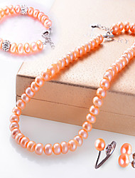 Jewelry 1 Necklace 1 Pair of Earrings 1 Bracelet Rings Pearl Wedding 1set Women Light Pink Silver Wedding Gifts