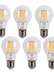 6W E26/E27 Ampoules à Filament LED A60(A19) 6 COB 600 lm Blanc Chaud / Blanc Froid Décorative AC 100-240 V 6 pièces