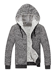 Men's Casual/Daily / Sports / Going out Active / Street chic Hoodie,Solid Round Neck Fleece Lining Micro-elastic Cotton / PolyesterLong
