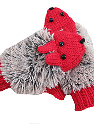 Thick Outer Warmer Knitted Gloves (Red)