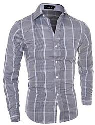 Men's Going out / Casual/Daily Simple Spring / Fall Shirt,Check Shirt Collar Long Sleeve Gray Cotton Medium