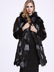 BF-Fur Style Women's Casual/Daily Sophisticated Fur CoatSolid Hooded Long Sleeve Winter Black Fox Fur