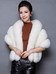 Women's Going out / Casual/Daily Cute Cloak/Capes,Solid Round Neck ¾ Sleeve Fall Pink / White / Gray Faux Fur Medium