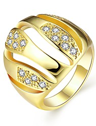 Gold Plated Rings Classic Style Geometric Design Inlaid Cubic Zirconia Fashion Jewelry For Women Us Size 7 8
