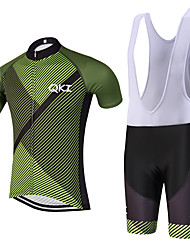 QKI Sarja Verde Pro Cycling Jersey with Bib Shorts Men's Short Sleeve BikeBreathable / Quick Dry/Anatomic Design/reflective stripe/5D coolmax gel pad