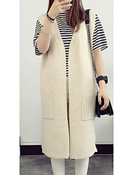 Women's Going out Simple Long Cardigan,Solid V Neck Long Sleeve Polyester Fall Thin Micro-elastic