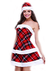 Cosplay Costumes Santa Suits Movie Cosplay Red Plaid Top / Skirt / Hats Female Polyester