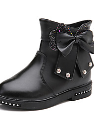 Kids Girl's Boots Spring / Fall / Winter Comfort / Ankle Strap Leather Outdoor / Casual Low Heel Zipper Red / Pink / Black