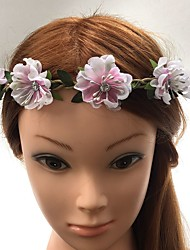 Femme Vannerie Tissu Casque-Mariage Occasion spéciale Serre-tête Fleurs Elastique 1 Pièce