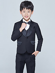 Cotton Ring Bearer Suit - Five-piece Suit Pieces Includes  Jacket / Shirt / Vest / Pants / Bow Tie