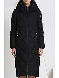 Women's Regular Down Coat,Simple Going out Solid-Polyester White Duck Down Long Sleeve Hooded Black