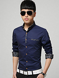 Men's Formal Simple Fall / Winter Shirt,Solid Shirt Collar Long Sleeve Blue / White / Gray / Green Cotton Thick
