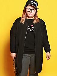 Normal Hoodies Femme Décontracté / Quotidien / Grandes Tailles simple,Lettre Noir Col Arrondi Manches Longues Polyester / Spandex Hiver