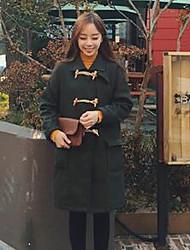 Feminino Casaco Informal / Casual Fofo Inverno,Sólido Azul / Verde Poliéster Colarinho Chinês-Manga Longa Média
