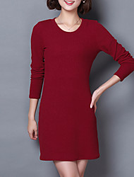 Women's Plus Size / Going out / Casual/Daily Simple / Street chic T Shirt Dress,Solid Round Neck Above Knee Long Sleeve Red / Black / Gold