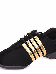 Modern Women's Dance Shoes Sneakers Canvas Low Heel Black/Red/Gold/Purple