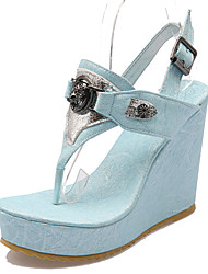 Damen-Sandalen-Büro Kleid Lässig-Kunstleder-Keilabsatz Plateau-Plateau Fersenriemen-Blau Weiß Gold