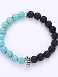 Grind Arenaceous Black Lava Rock Hand String Of Beads Leopard Lion Crystal Set Auger Stretch Bracelet