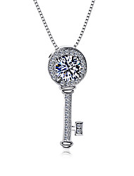 Fashion 925 Sterling Silver Fashion Necklace Key chain pendant chain Jewelry Cubic Zircon For Women Sweater chain