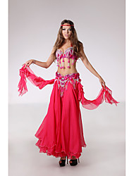 Belly Dance Outfits Women's Performance Polyester Beading / Cascading Ruffle / Crystals/Rhinestones 3 Pieces Sleeveless DroppedHip Scarf