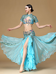 Belly Dance Outfits Performance Egyptian cup/Beading / Crystals/Rhinestones / Paillettes / Flower(s) / Pleated / Sequins 3 Pieces