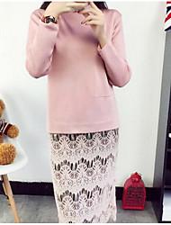 Damen Standard Pullover-Ausgehen Einfach Solide Rosa Schwarz Grau Lila Rundhalsausschnitt Langarm Baumwolle Winter Mittel Mikro-elastisch