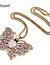 Lovely Cute Pink Butterfly Porcelain And Diamond Alloy Statement Pedant Necklace For Women