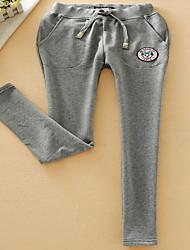 Mujer Sencillo Tiro Medio Micro-elástica Pantalones de Deporte Chinos Pantalones,Corte Recto Un Color