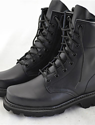 Men's Boots Winter Comfort Cowhide Casual Low Heel Lace-up Black Others