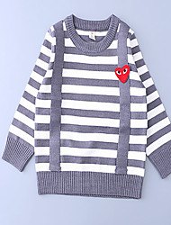 Unisex Casual/Daily Striped Sweater & Cardigan,Cotton Fall Long Sleeve Regular