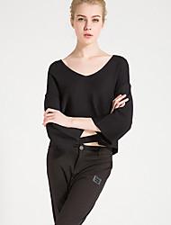 Damen Standard Pullover-Lässig/Alltäglich Einfach Solide Rosa Weiß Schwarz V-Ausschnitt ¾-Arm Baumwolle Frühling Sommer Mittel