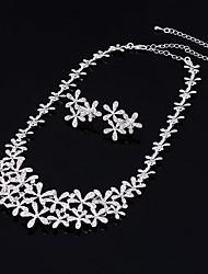 Schmuck 1 Halskette / 1 Paar Ohrringe Kubikzirkonia Hochzeit / Party 3 Stück Damen Silber Hochzeitsgeschenke